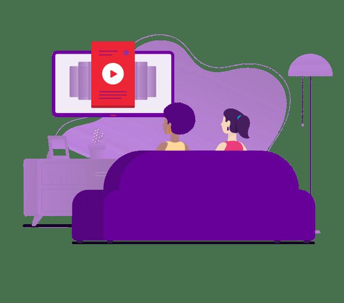 mulheres assistindo com vivo fibra combo